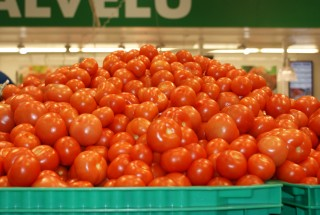 Display of tomatoes at the market