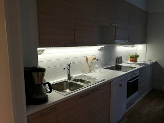 Kitchen setup with cabinets