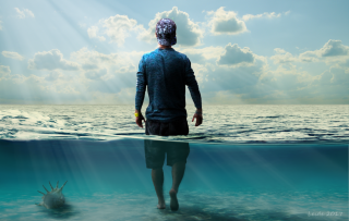 Photoshop Man in the water